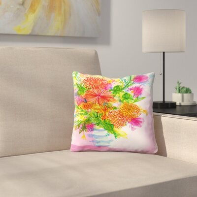 Paula Mills Striped Vase Throw Pillow Size: 14 x 14
