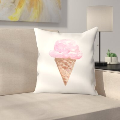 Jetty Printables Watercolor Ice Cream Cone Throw Pillow Size: 14 x 14