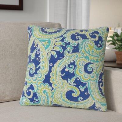Zaritt Paisley Cotton Throw Pillow Color: Aqua