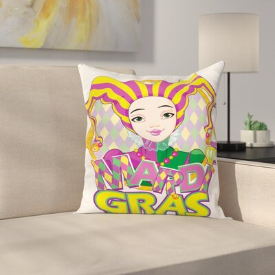 Mardi Gras Carnival Girl Pillow Cover Size: 16 x 16