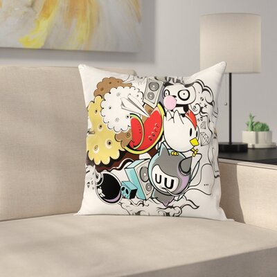 Animal Food Crazy Doodle Square Cushion Pillow Cover Size: 18 x 18