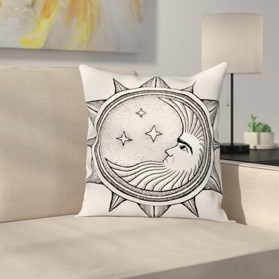 Artsy Moon with Stars in Sun Square Pillow Cover Size: 16 x 16