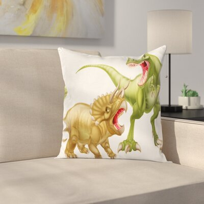 Dinosaur Two Dinosaurs Fighting Square Cushion Pillow Cover Size: 24 x 24