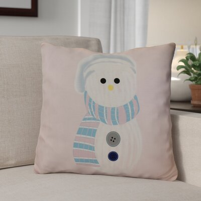 Sock Snowman Outdoor Throw Pillow Size: 16 H x 16 W, Color: Pale Pink