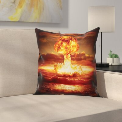 Fabric Case Nuclear Bomb Explosion Square Pillow Cover Size: 18 x 18