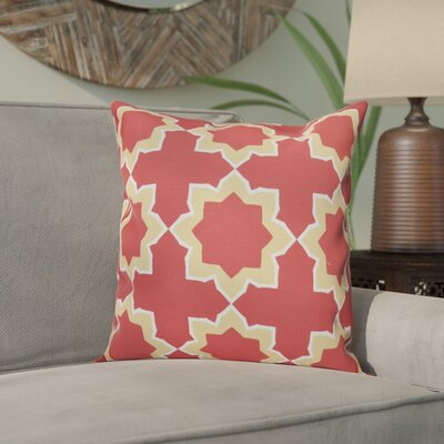 Meetinghouse Bohemian 2 Geometric Outdoor Throw Pillow Size: 18 H x 18 W, Color: Coral