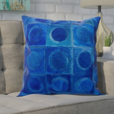 Naral Leather Hide Throw Pillow Color: Navy
