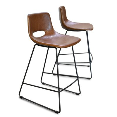 Didomenico Thompson 25 Bar Stool (Set of 2) Color: Brown