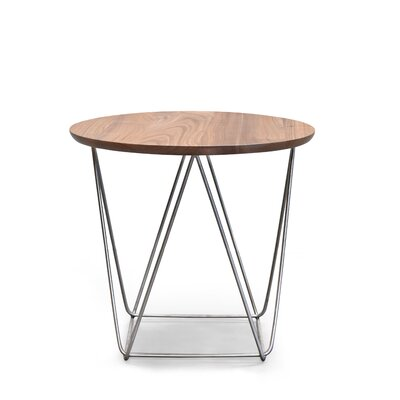 Hager Gina End Table Table Base Color: Stainless Steel, Table Top Color: Natural Walnut