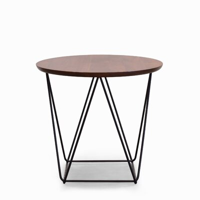 Hager Gina End Table Table Base Color: Black, Table Top Color: Classic Walnut