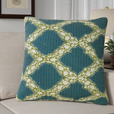 Alcera Geometric Down Filled 100% Cotton Throw Pillow Size: 24 x 24, Color: Aqua Green