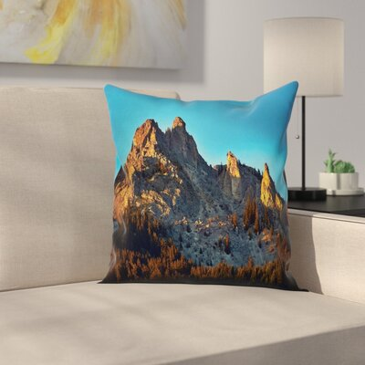 Nature Mountain Forest Sunset Square Pillow Cover Size: 16 x 16
