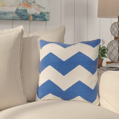 Vaughan Cotton Throw Pillow Size: 22 H x 22 W x 4 D, Color: Blue, Filler: Down