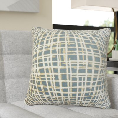 Rhoton Plaid Cotton Throw Pillow Color: Blue