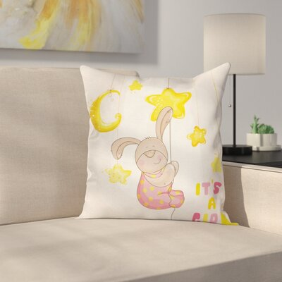 Cartoon Bunny Stars Moon Square Pillow Cover Size: 18 x 18