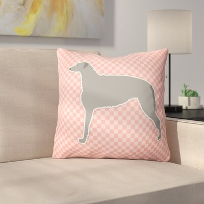 Scottish Deerhound Square Indoor/Outdoor Throw Pillow Size: 14 H x 14 W x 3 D, Color: Pink