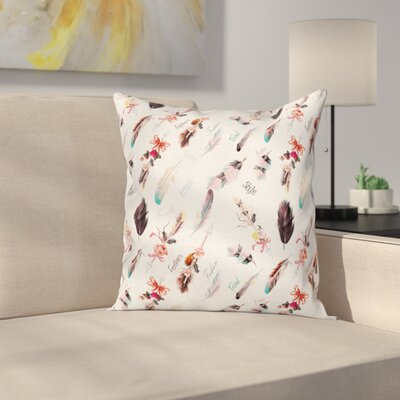 Boho Ethnic Fashion Feathers Square Pillow Cover Size: 24 x 24