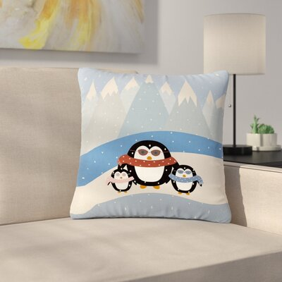 Cristina Bianco Cute Penguins Illustration Outdoor Throw Pillow Size: 16 H x 16 W x 5 D