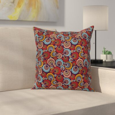 Abstract Circular Spiral Shapes Square Pillow Cover Size: 18 x 18