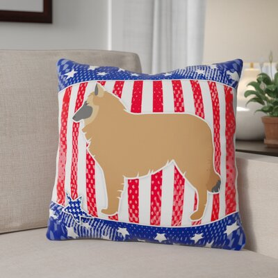 Patriotic Blue/Red Contemporary Indoor/Outdoor Throw Pillow Size: 18 H x 18 W x 3 D