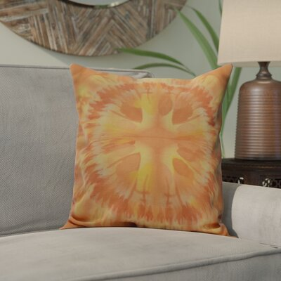 Dabria Shibori Burst Outdoor Throw Pillow Size: 18 H x 18 W, Color: Yellow