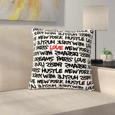 Just L Lux Writing Urban Typography Outdoor Throw Pillow Color: Black, Size: 18 H x 18 W x 5 D