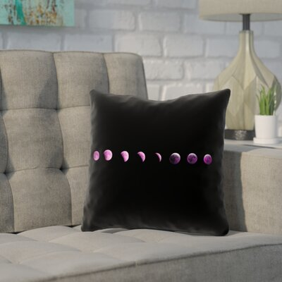 Enciso Moon Phase Pillow Cover Color: Purple, Size: 18 x 18