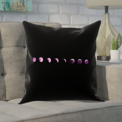 Enciso Moon Phases Square Pillow Cover Color: Purple, Size: 16 x 16