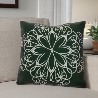 Decorative Snowflake Print Outdoor Throw Pillow Size: 20 H x 20 W, Color: Dark Green