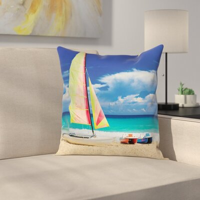 Holiday Ocean Sailing Exotic Square Pillow Cover Size: 24 x 24