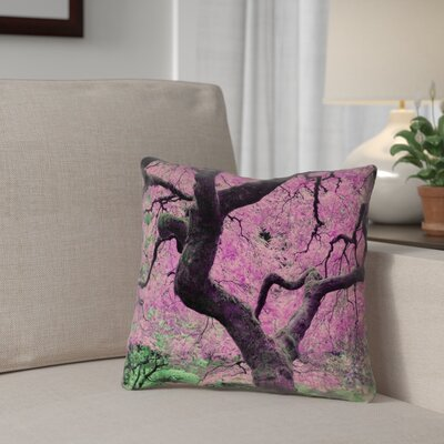 Ghost Train Japanese Maple Tree Square 100% Cotton Pillow Cover Color: Pink, Size: 14 x 14