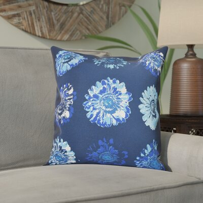 Willa Floral 2 Outdoor Throw Pillow Size: 18 H x 18 W, Color: Navy Blue