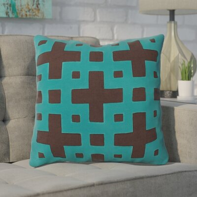Bright Squares Cotton Throw Pillow Size: 22 H x 22 W x 4 D, Color: Coffee Bean / Dark Turquoise, Filler: Down