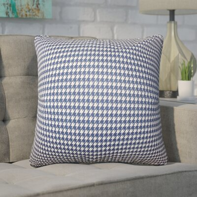 Trym Houndstooth Cotton Throw Pillow Color: Blue