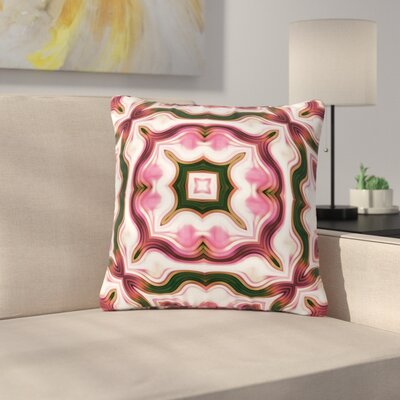 Dawid Roc Vintage Flower Pattern  Abstract Outdoor Throw Pillow Size: 18 H x 18 W x 5 D, Color: Pink
