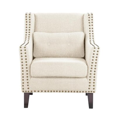 Despain Wingback Chair Upholstery: Elon White/Off-white Solid