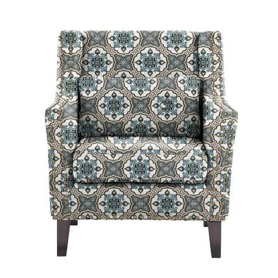 Despain Wingback Chair Upholstery: Illiad Blue/Gray/White Damask