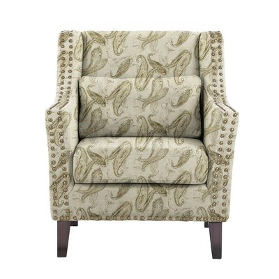 Despain Wingback Chair Upholstery: Surrey Off-White/Gray Paisley