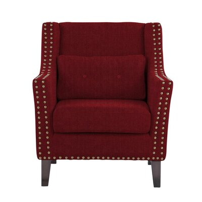 Despain Wingback Chair Upholstery: Helio Burgundy/Red Solid