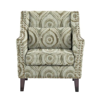 Despain Wingback Chair Upholstery: Satori Off-White/Gray Geometric