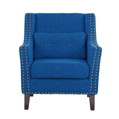 Despain Wingback Chair Upholstery: Helio Royal Blue Solid