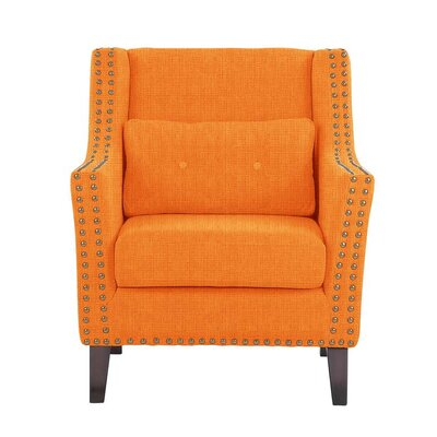 Despain Wingback Chair Upholstery: Helio Orange Solid