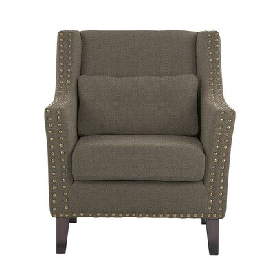 Despain Wingback Chair Upholstery: Eclipse Gray/Brown Solid