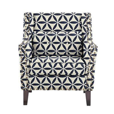 Despain Wingback Chair Upholstery: Derry Navy Blue/White Geometric