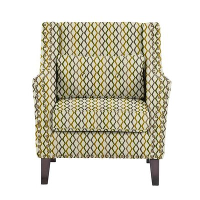 Woodlake Wingback Chair Upholstery: Zenith Off-White/Green/Gray Geometric
