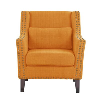 Despain Wingback Chair Upholstery: Guylene Orange Solid