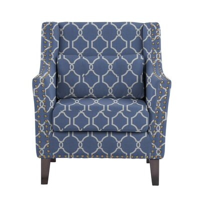 Despain Wingback Chair Upholstery: Solange Blue/White Geometric