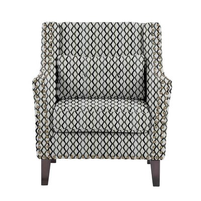 Woodlake Wingback Chair Upholstery: Zenith Gray/blue/off-white Geometric