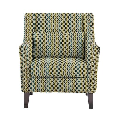 Woodlake Wingback Chair Upholstery: Zenith Green/Blue/Off-White Geometric
