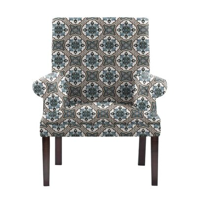 Hudspeth Armchair Upholstery: Illiad Blue/Gray/White Damask